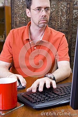 Man working on PC