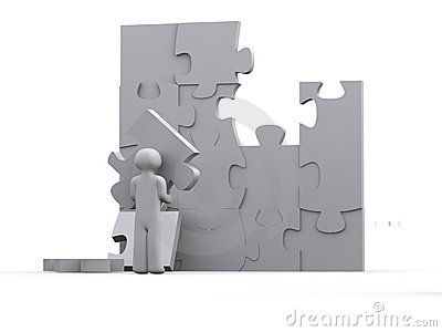 Man working on a puzzle