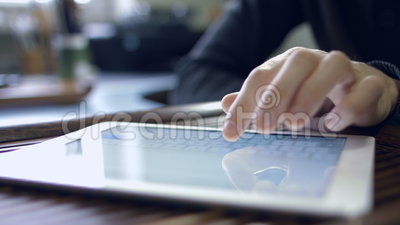 Man working for tablet PC. Man working for the Tablet PC at your desk
