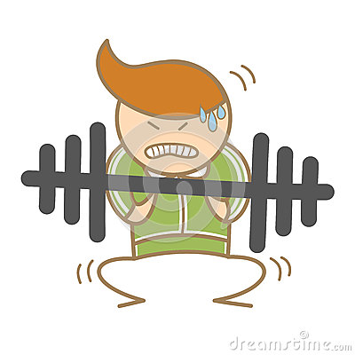 Man workout on barbell