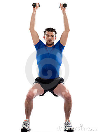 Man workout  weight training crouching