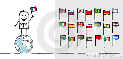 Man & World Flags Royalty Free Stock Photo - Image: 18443335
