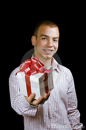 Man with a wrapped gift box