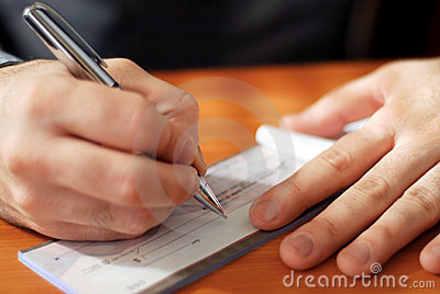 Man writing a check