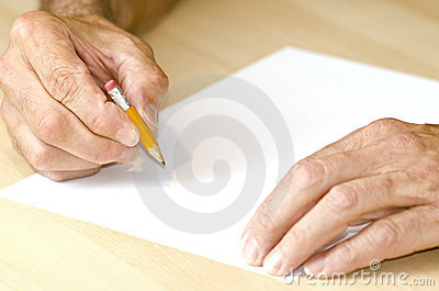 Man writing with short pencil