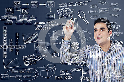 Man writing on transparent board