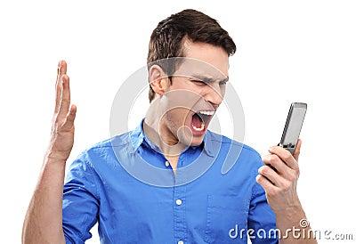 Man yelling at his mobile phone