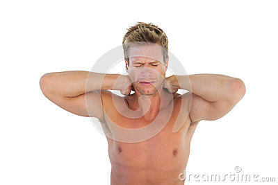 Man yelling and suffering from neck pain