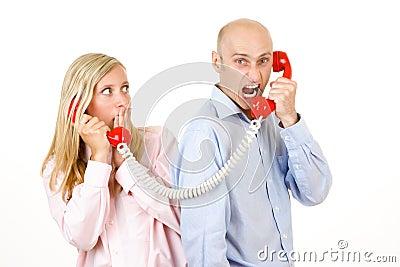 Man yelling on telephone