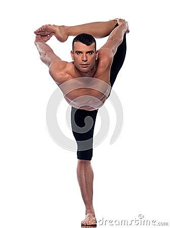 Man yoga asanas natarajasana dancer pose