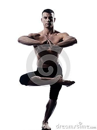 Man yoga balance Vriksha-asana the Tree Pose