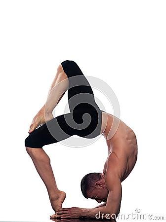 man yoga eka pada viparita dandasana pose royalty free