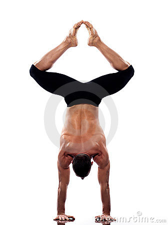 Man yoga handstand full length gymnastic
