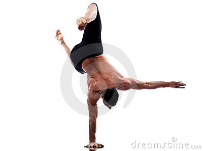 Man yoga handstand full length gymnastic acrobatic