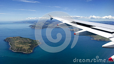 Mana Island from plane window over New Zealand