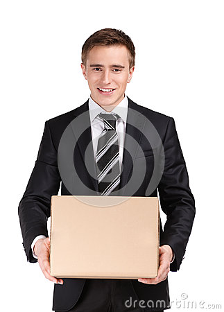 Manager with cardboard box