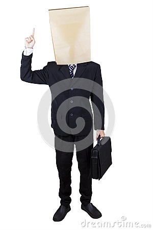 Manager with cardboard head get idea Stock Photo