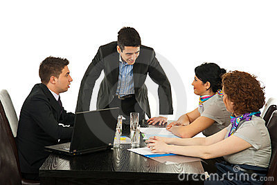 Manager discuss with employees