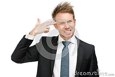 Manager hand gun gesturing