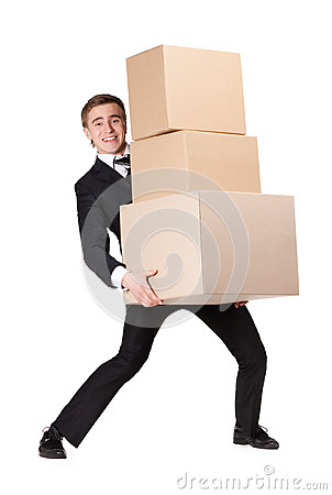 Manager handing pile of cardboard boxes