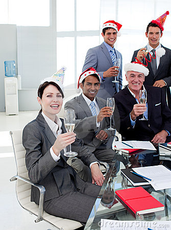 Manager and his team at a party