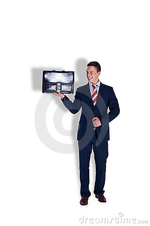 Manager holding a case