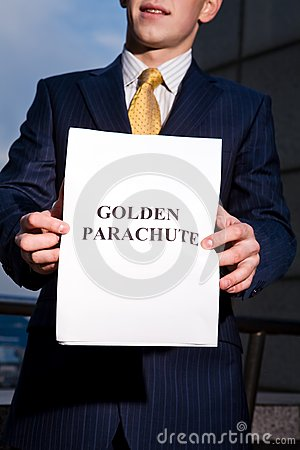 Manager holding document Golden Parachute