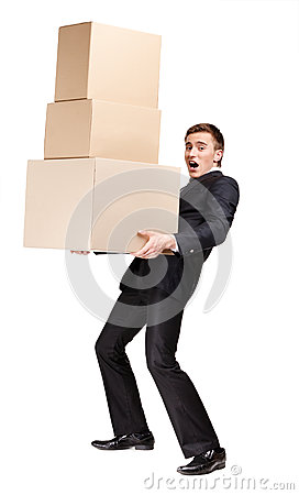Manager keeping pile of boxes