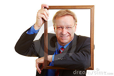 Manager leaning in a frame