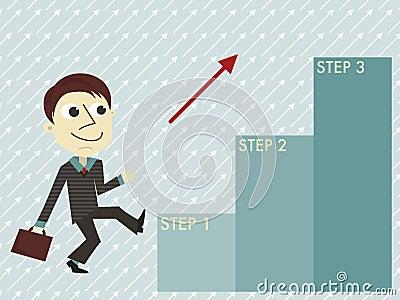 Manager mit der infographic Schablone von drei Schritten