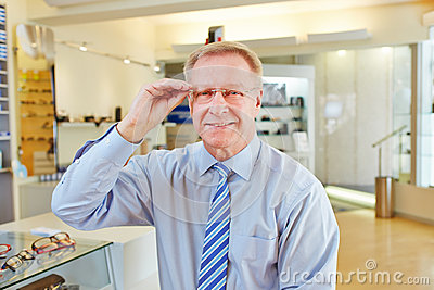 Manager with new glasses at