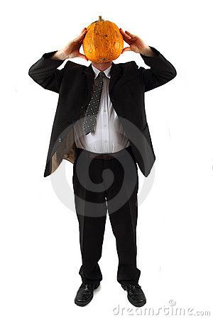 Manager with pumpkin head