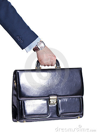 Manager s hand with a briefcase