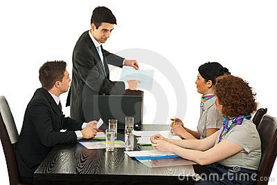 Manager showing diagram to his team