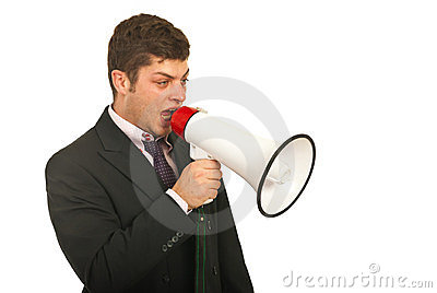 Manager speaking out by megaphone