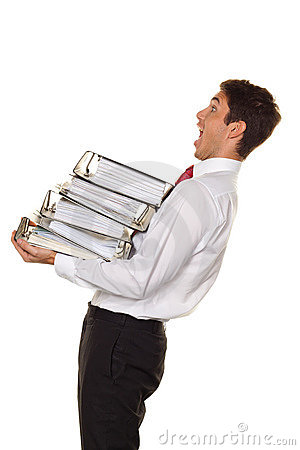 Manager in stress with stacks of files. Red tape
