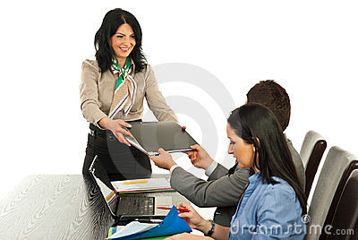 Manager woman give folder to employee