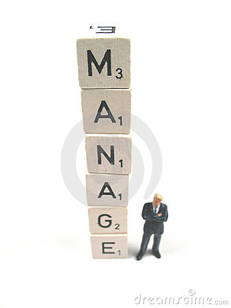 Manager with word spelled out