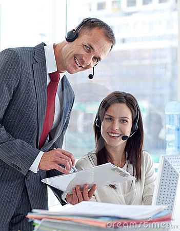 Manager working with businesswoman