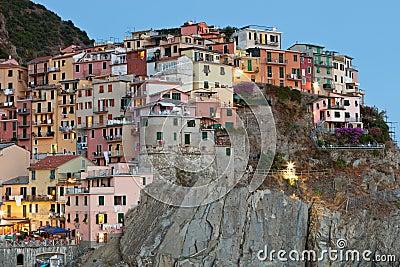 Manarola after sunset, Cinque Terre, Italy