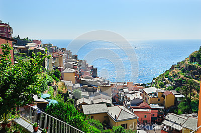 Manarola village on a hot summer day