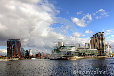 Manchester city view at Salford Quays. Editorial Stock Photo