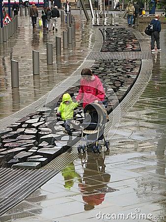 Manchester unter Regen Redaktionelles Stockbild