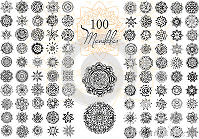 Mandala Card Set Vector Illustration