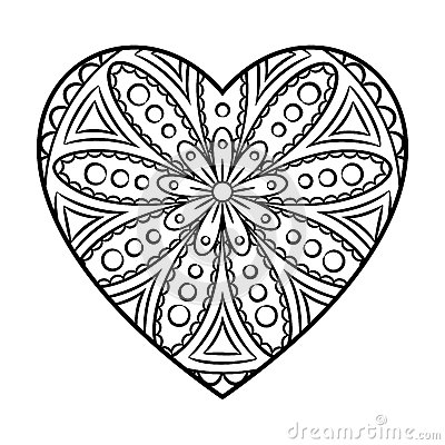 Mandala de coeur de griffonnage illustration de vecteur image 76609730 - Mandala de coeur ...