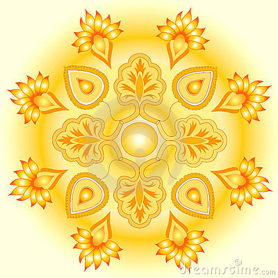 Mandala golden sun design