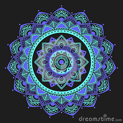 Mandala Indian Antistress Medallion Abstract Islamic Flower Arabic Henna Design Yoga Symbol Vector Illustration