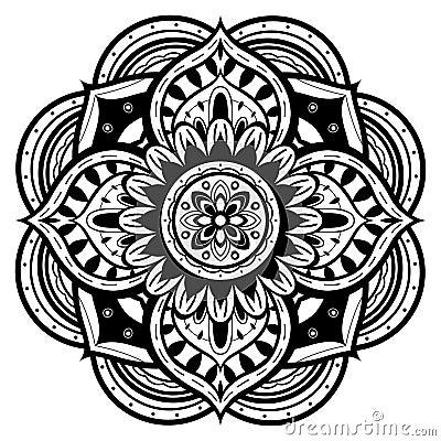 mandala noir et blanc illustration de vecteur image. Black Bedroom Furniture Sets. Home Design Ideas