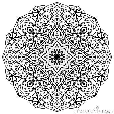 mandala noir et blanc oriental illustration de vecteur. Black Bedroom Furniture Sets. Home Design Ideas