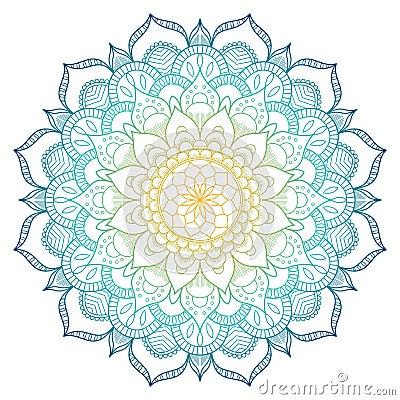 Mandala pattern colored background. Vector illustration. Meditation element for India yoga. Ornament for decorating a Vector Illustration